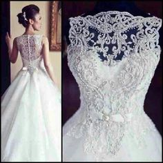 Beautiful white wedding dress with an elaborate lace/bead design. Please let this be my wedding dress some day. Princess Wedding Dresses, Bridal Dresses, Wedding Gowns, Lace Wedding, Elegant Wedding, Wedding White, Wedding Venues, Weeding Dresses, Princess Bridal