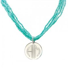 Monogrammed Mint Beaded Necklace with Silver Plate Charm