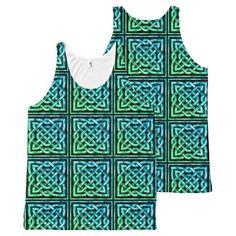 Celtic Knot - Diamond Tile Blue Green All-Over Print Tank Top Tank Tops