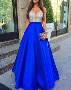 Royal blue V-neck sequins sparkle special high quality long floor-length Prom Dresses Gown,cheap prom gown BD1705522
