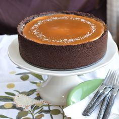 Vanilla Bean Cheesecake with Chocolate Crust and Salted Caramel Topping