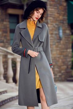 Solid color double-sided woolen long coat