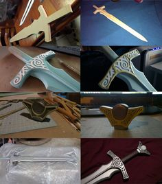 Better late than never. Here's how i made the Steel Sword, i didn't get as many photos as i would have liked, but hopefully this gives you an idea. Materials used were MDF, Styrene and Epoxy Putty.