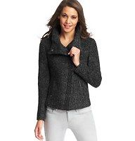 """Chunky Knit Moto Jacket - Flaunting a decadent dose of wool for a marvelously chic (and even more cozy) boucle-inspired texture, we're mad about this smart moto style. Stand collar. Long sleeves. Hidden snap closure at collar. Zip front and pockets. 21 1/2"""" long."""