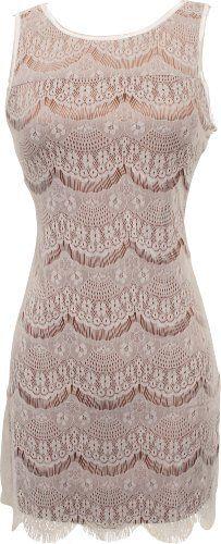 Scalloped Lace Overlay Mini Flapper Dress Junior  Junior Plus Size $34.99