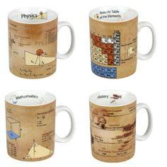 Amazon.com: Konitz Physics/Math/Chemistry/History Mugs, Set of 4: Kitchen & Dining