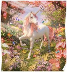 'Unicorn Spring' Poster by David Penfound Unicorn And Fairies, Unicorn Fantasy, Unicorn Horse, Unicorns And Mermaids, Unicorn Art, Fantasy Art, Unicorn Painting, Unicorn Drawing, Magical Creatures