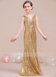 A-Line/Princess V-neck Floor-Length Ruffle Zipper Up Regular Straps Sleeveless No Gold General Sequined Junior Bridesmaid Dress