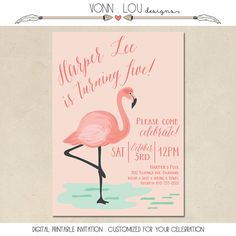 flamingo invitation flamingo party pool party by VonnLouDESIGNS