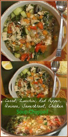 Soup Chopped Carrot Zucchini Red Pepper Sauerkraut Quinoa
