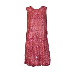 Raspberry Sequined Flapper Dress on Tulle Net (UGH, the color and bead-work ALONE!!!) - 1920's