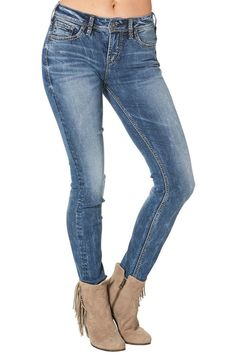 Suki HIGH/ super SKINNY  High Rise  Relaxed Hip & Thigh  Super Skinny Leg Suki Super Skinny by Silver Jeans Co.. Clothing - Bottoms - Jeans & Denim - Skinny Alabama