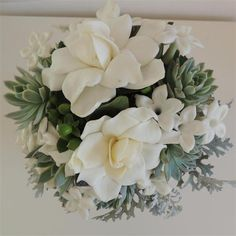 Gardenia and Succulent Bouquet