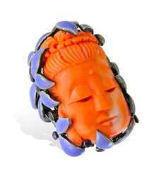 Lydia Courteille, coral Buddha head and enamel
