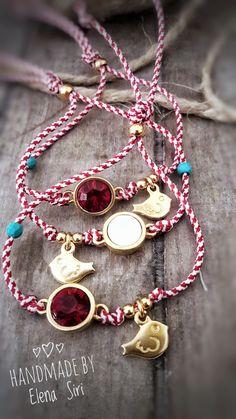 #μαρτάκια ❤ Macrame Bracelets, Handmade Bracelets, Handmade Jewelry, Make Your Own Jewelry, Jewelry Making, Japanese Ornaments, Greek Jewelry, Creative Gifts, Clay Jewelry