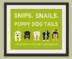 Nursery art print. Boy nursery artwork Puppy dog Thats what little boys are made of Kids wall art baby nursery decor 16X20 print by WallFry. $38.00, via Etsy.