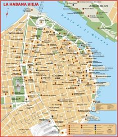 Map of Old Havana Varadero, Havana Cuba, Oh The Places You'll Go, Places To Visit, Havana Vieja, Our Man In Havana, Viva Cuba, Cuba Travel, Geography