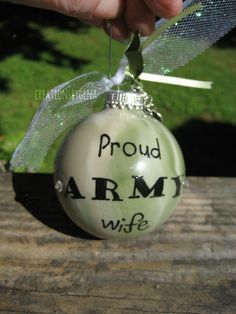 Proud ARMY wife camo Christmas ornament by CreationsbyGena on Etsy