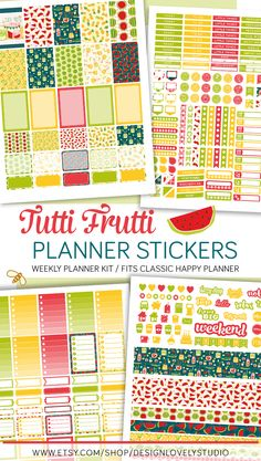 Tutti Frutti printable planner stickers for classic Happy Planner. Click on the link to see this product.