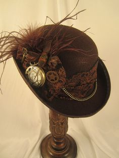 STEAMPUNK ladies felt  DERBY HAT brown with pocket by EmilyWayHats, $77.00