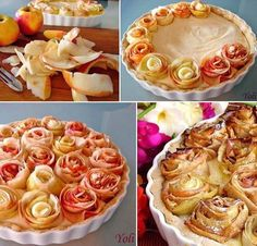 Cake decorating with apple roses Rose Cake, Sweet Cakes, Dessert Recipes, Desserts, Food Photo, Fall Recipes, Apple Pie, Just In Case, Cake Decorating