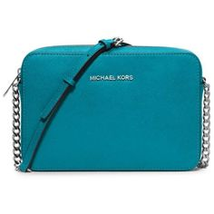 Michael Michael Kors Peacock Jet Set Travel Large East West Crossbody (150 CAD) ❤ liked on Polyvore featuring bags, handbags, shoulder bags, peacock, blue cross body purse, cross body travel purse, crossbody purses, blue crossbody purse and blue crossbody handbag