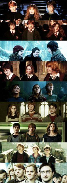 Op deze foto's zie je goed hoe Harry,Ron en Hermelein zijn opgegroeid