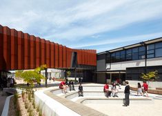 This rusted steel bridge at a primary school in Melbourne's western suburbs is transformed into an art gallery and viewpoint for students