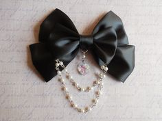 Gothic Lolita Hair clip or Brooch black bow with glass heart and white beads $10.00 USD