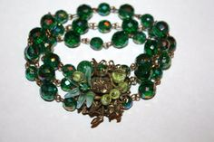 Vintage Bracelet Miriam Haskell Unsigned Green AB Crystal 1950s Jewelry. $50.00, via Etsy.