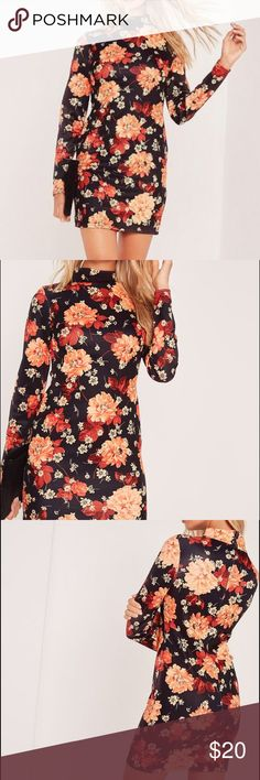 Missguided Long Sleeve Floral Scuba Dress Floral scuba mini dress with zip back. Worn once. Missguided Dresses Mini