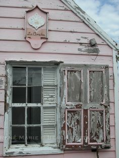 Chippy painted pink cottage, Shabby Chic, Rustic old window shutters,