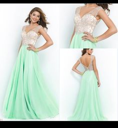 Wholesale Prom Dresses - Buy Blush Sexy 2015 Long Prom Dresses A Line V Neck Beads Crystals Cap Sleeves Mint Green Chiffon Backless Evening Dresses Formal Party Gown MQ, $119.38 | DHgate.com