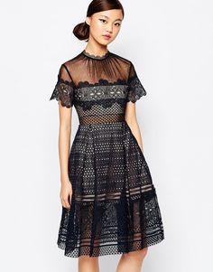 Self+Portrait+Felicia+Embroided+Midi+Dress