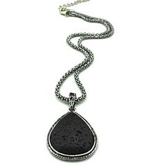 Toonykelly® Vintage Tibet Alloy Antique Silver Black Lava Rock Stone Necklace(1 Pc)
