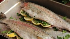 Baked whole fresh trout seasoned with dill and thyme is a quick and easy meal that looks like a dish from a fancy restaurant. Serve with rice and vegetables.