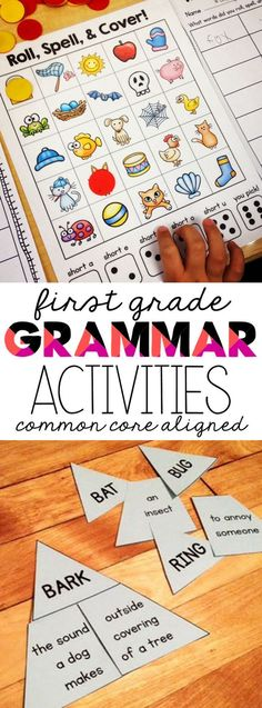 Tons of hands on activities and extension lessons to teach all the first grade language and grammar common core standards.