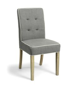 Vorno Grey Weave Linen Fabric Dining Chair