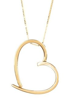 14K Yellow Gold Open Heart Pendant Necklace by Candela on @HauteLook