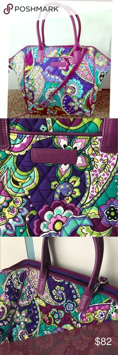 """1 hour sale Vera Bradley trimmed Tote """"heather"""" So pretty and perfect size for anything 19.5 x 13.5 x8 leather straps And zip shut, brand new with tags! Reg $98 Vera Bradley Bags"""