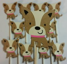 Dog Cupcake Toppers, puppy cupcake toppers, terrier cupcake toppers, dog theme…