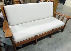 Sofa White with Wood Frame