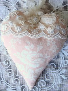 Shabby Fabric Heart Lace Heart Ornament Stuffed Heart Fabric Hanging Heart Tattered Cottage Style