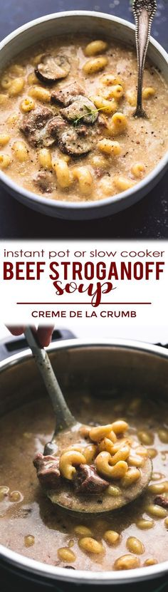 One of your favorite classic, comfort food dishes turned into a creamy, savory soup! This instant pot or slow cooker beef stroganoff is a must make all year round. | lecremedelacrumb.com #beefstroganoff #instantpot #slowcooker #crockpot #easy #soup #recipe