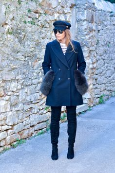 Style of the day - Black&Blue. Coat, Jackets, Blue, Style, Fashion, Down Jackets, Sewing Coat, Moda, La Mode