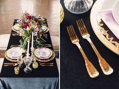 Elegant black table setting