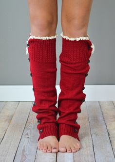 Cranberry Button Down Leg Warmers with Lace Trim - White Elephant or Yankee Swap Gift Ideas #myuntangledholidays