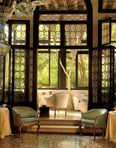 Interior glass doors add a decorative touch.