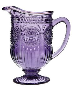 Glass pitcher in amethyst with medallion and dot detail. Florentine Pitcher in Amethyst - Joss & Main Purple Love, Purple Glass, All Things Purple, Shades Of Purple, Deep Purple, Purple Stuff, Purple Colors, Cristal Art, Purple Kitchen