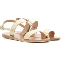 Ancient Greek Sandals Clio Metallic Leather Sandals (18110 RSD) ❤ liked on Polyvore featuring shoes, sandals, flat shoes, gold, metallic leather sandals, leather sandals, metallic gold sandals, ancient greek sandals and real leather shoes